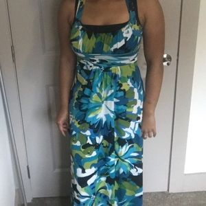 Blue and Green Floral Maxi Dress